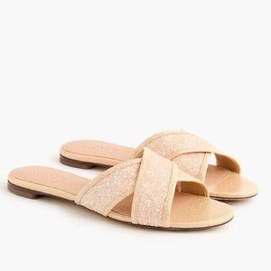New J.Crew Glitter Cora Crisscross Sandals, 8